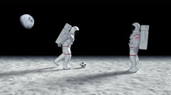 Two Astronauts Playing Soccer On The Alien Planet Surface Stock Footage