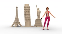 Pretty Tourist Woman Visits Famous City Symbols Stock Footage