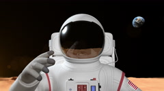Astronaut On The Mars Surface Stock Footage