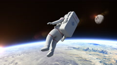 Astronaut Flying Over The Planet Earth Arkistovideo