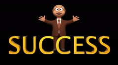 Senior 3d business man character standing with success text Stock Footage