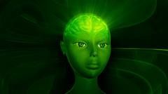 Cg rotating human brain scan Stock Footage