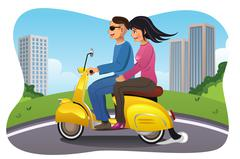 Couple Riding a Motorcycle Stock Illustration