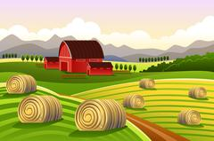 Farm Scene with Rolled Hays Stock Illustration
