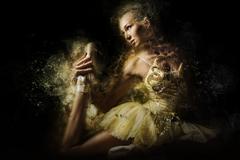 Ballerina in yellow tutu. Digital art Stock Photos