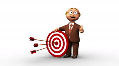 Successful business man character hitting the bull's eye Stock Footage