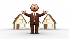 Cute 3d estate agent character with houses Stock Footage