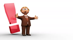 Senior 3D business man character with exclamation mark Stock Footage