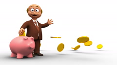 Senior 3D business man inserting coin into a piggy bank Stock Footage