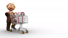 Senior cute 3D character driving shopping cart with presents Stock Footage