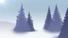 Snow falling on fir tree forest. Realistic animation. 4K  Stock Footage