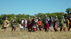 Medieval warriors fight during historical festival Stock Footage