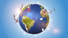 Red Airplanes Traveling Around The World Stock Footage