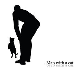 Business man silhouette with a cat Stock Illustration