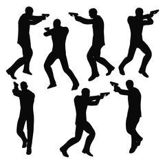 Gunman businessman silhouette in black Piirros