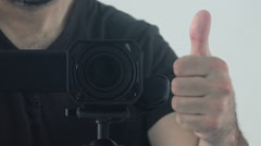 Man recording footage with digital camcorder Stock Footage