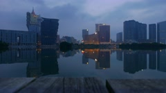 Macao city at sunrise Stock Footage