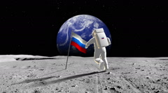 Russian Cosmonaut Walking On A Planet Stock Footage