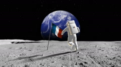 French Astronaut Walking On A Planet Stock Footage