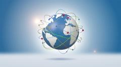 Colorful Spheres Rotating Around Orbiting Blue Globe Stock Footage