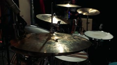 Drums with cymbals  stand in room Stock Footage