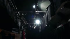 Spotlights and other equipments for concert in backstage Stock Footage