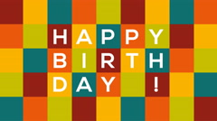 Checkered Happy Birthday card with text bouncing and sliding from one side to Stock Footage