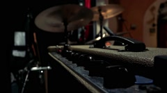 Cymbals and panel with switches for adjust sound Stock Footage