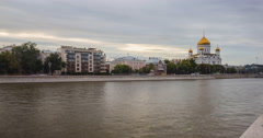 panoramic view of Moscow river at sunset time lapse - stock footage