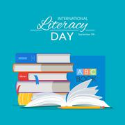 International Literacy Day poster. Education concept vector illustration. Pile Stock Illustration