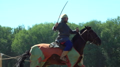 Knights participate in knightly contests Stock Footage