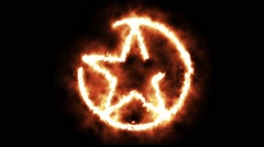 Star in Circle Lighting up and Burning in Flames Stock Footage