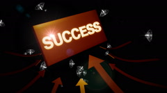 Arrows indicating success word with falling diamonds Stock Footage