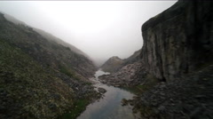 Granite Canyon of the Misty Loch Fast Forward Aerial Stock Footage
