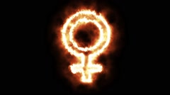 The Female Sign Lighting up and Burning in Flames Stock Footage