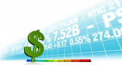 Dollar currency value increasing. Stock market animation. Stock Footage