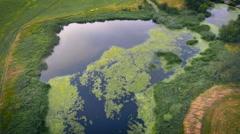 Lake pan around areal shot Stock Footage