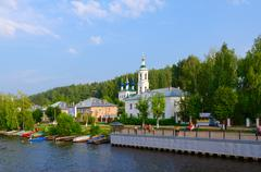 Embankment and river quay of town Ples, Russia Stock Photos