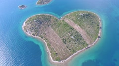 Aerial view of the heart shaped Galesnjak island on the adriatic coast Stock Footage