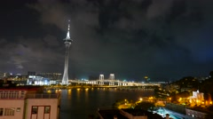 Macao downtown at night Stock Footage