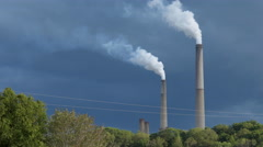 Power Plant with Stormy Skies Stock Footage