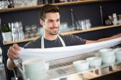 Barista apron preparing to work - stock photo