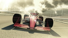 Winning formula one racing car 3d animation on a cloudy day Stock Footage