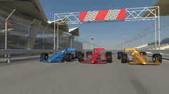 Formula one racing carts getting ready to start Stock Footage