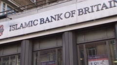 Islamic Bank bank of Britain exterior shot - stock footage