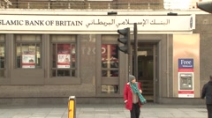 Islamic Bank bank of Britain exterior UK street.mp4 Stock Footage