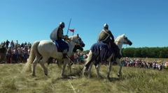 Medieval cavalry during  historical festival Stock Footage