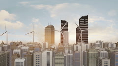 Wind Turbines In The Futuristic City Stock Footage