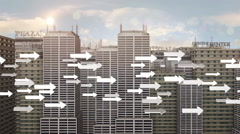 Flying Arrow Symbols In The Futuristic City Stock Footage