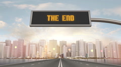 The End Traffic Sign Stock Footage